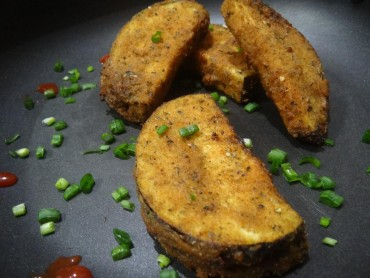 Cheesy eggplant fritters